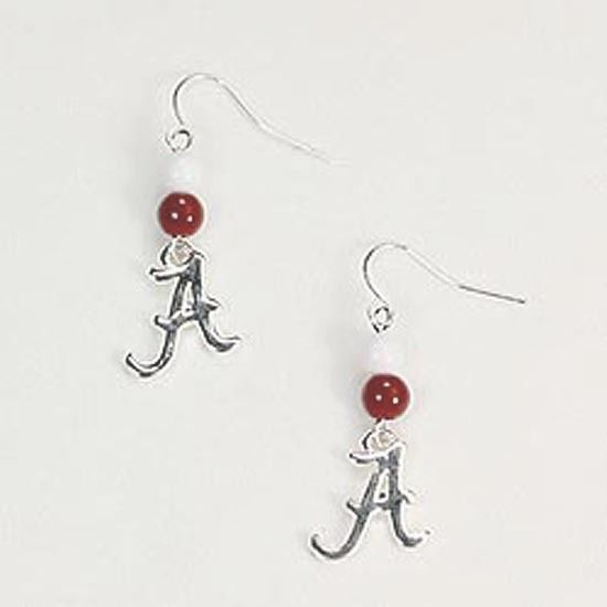 Alabama Crimson Tide Silver plated and Beaded Wire Earrings