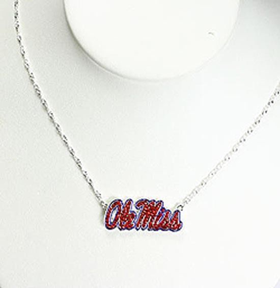Ole Miss Silver plated and Crystal Necklace