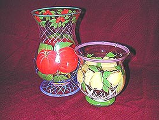 Hand Painted Fruit Pattern multi-Colored, Glass, Hurricane Candleholders
