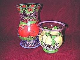 Hand Painted Fruit Pattern, Glass, Hurricane Candle Holders Set of 2 - $14.95