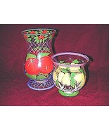 Hand Painted Fruit Pattern multi-Colored, Glass, Hurricane Candleholders - $14.95