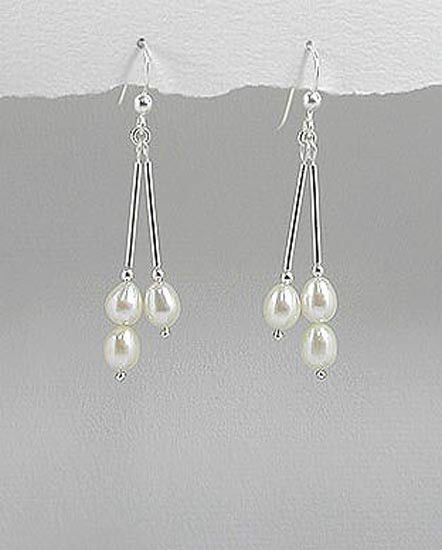 .925 STERLING SILVER & NATURAL FRESHWATER WHITE PEARL DANGLE EARRINGS