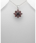 .925 STERLING SILVER PENDANT WITH RED GARNET GEMSTONES AND 18 INCH CHAIN - $39.95