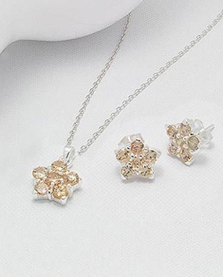 .925, STERLING SILVER CUBIC ZIRCONIA PENDANT AND EARRING SET GOLDENROD COLORED