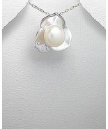 .925, STERLING SILVER FLOWER PENDANT WITH PEARL - $26.95