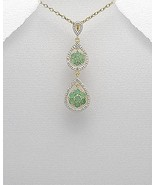 VERMEIL .925 STERLING SILVER 17 INCH MIXED THEMES PENDANT WITH GREEN EME... - $35.95