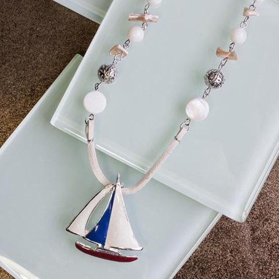 Silver Plated and Enamel Leather Corded Sailboat Necklace