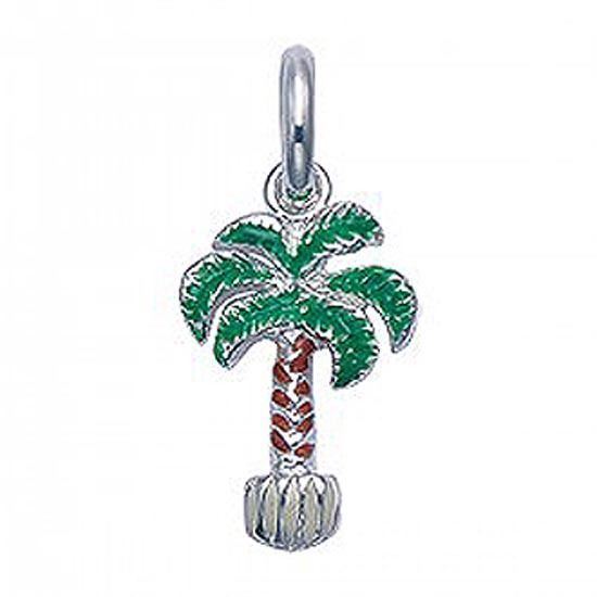 "Silver and enamel palm tree pendant w/ 18"" silver chain"
