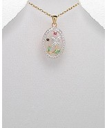 VERMEIL .925 STERLING SILVER  PENDANT WITH GEMSTONES RUBY BLUE SAPPHIRE ... - $32.95