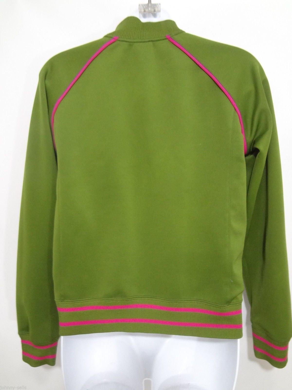The North Face Girls Large A5 Series Olive Green w Pink Accents Warm-Up Jacket