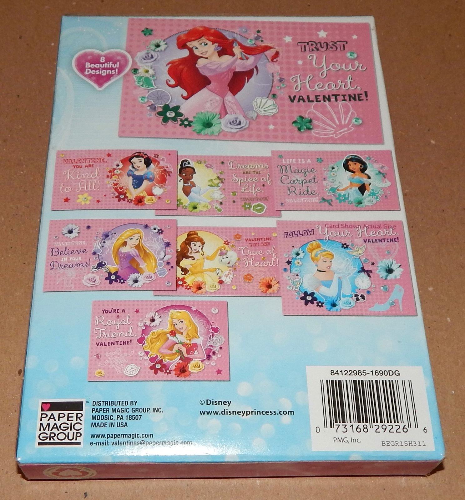 Valentines 32 Cards USA 8 Designs & Heart Stickers Disney Princess 101Q