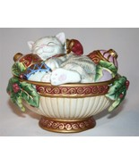 FITZ AND FLOYD ESSENTIALS Kristmas Kitty Round Box with Lid  #977 - $28.00