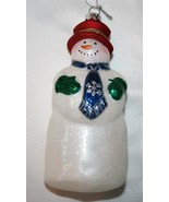 """FIGI """"Wilburrrr Frost""""  Blown Glass Glitter Snowman Ornament NIB   #980 - $30.00"""