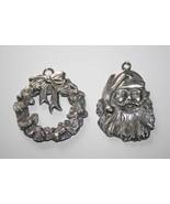2 Seagull Pewter Canada Ornaments  -Santa & Wreath-  #1748 - $22.00