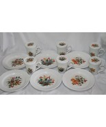 Gibson Grand Nobility Holiday Holly Pine Cone 18 pc Dessert Set For 6  #... - $58.00