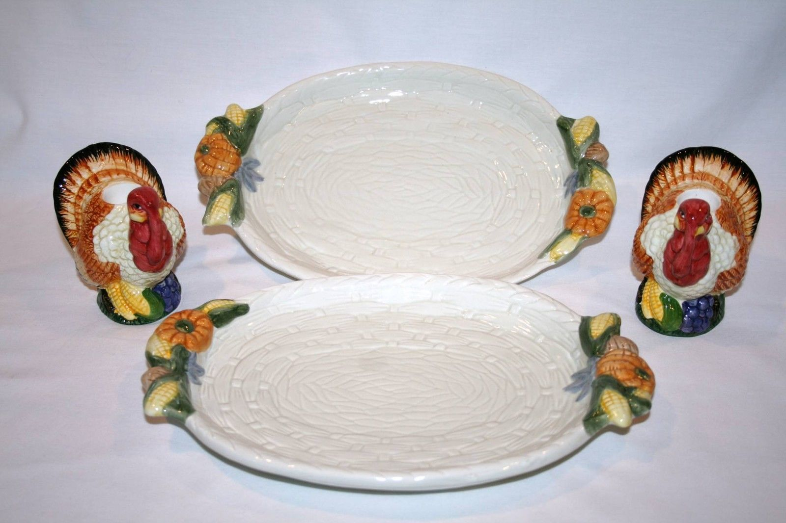 BENCHMARK Thanksgiving 2 Small Serving Platters + Turkey Candle Holders #795