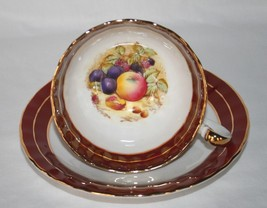 Aynsley 2480 Maroon White Tea Cup & Saucer Set Fruit Design Signed D Jones - $40.00