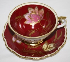 Schumann Bavaria Germany Maroon Tea Cup & Saucer Set Pink Yellow Gold Florals - $85.00