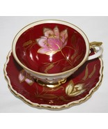 Schumann Bavaria Germany Maroon Tea Cup & Saucer Set Pink Yellow Gold Fl... - $85.00