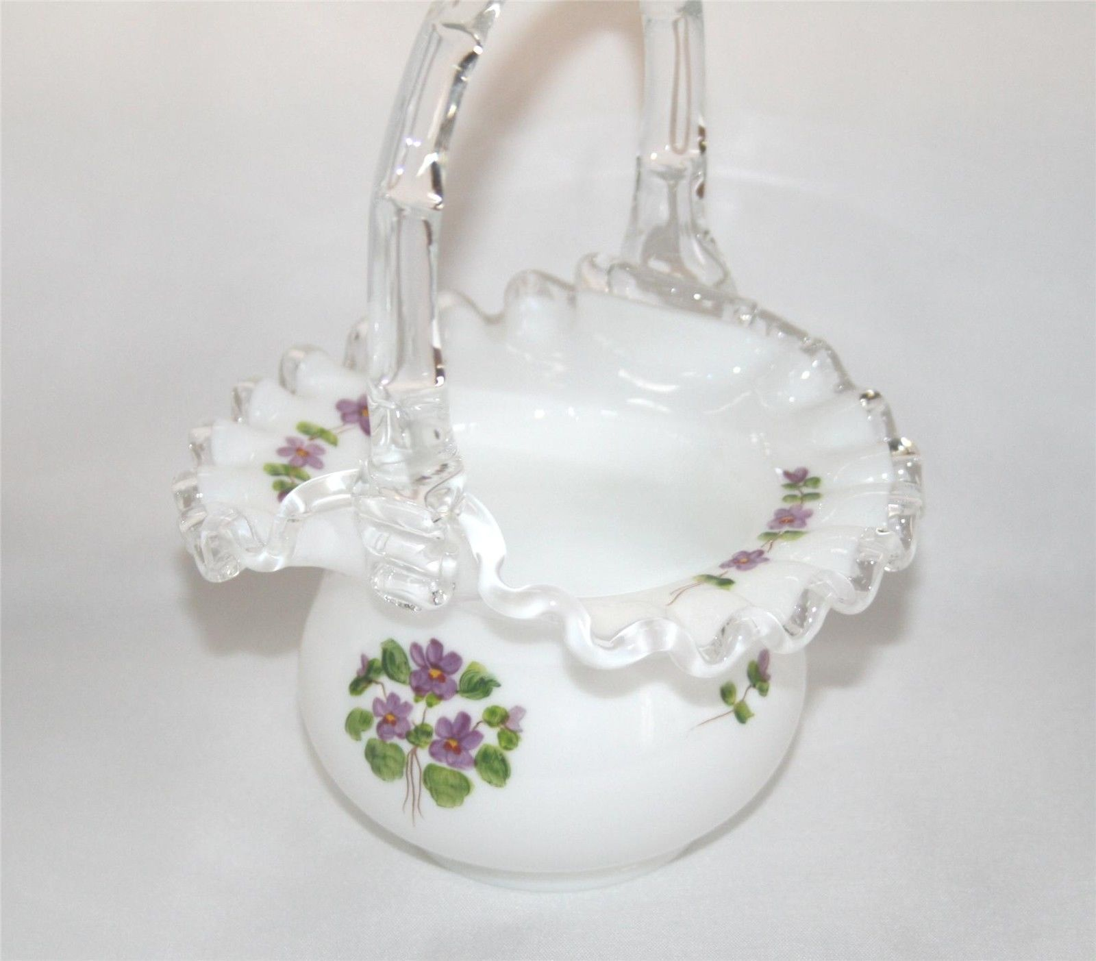 Primary image for Fenton Silvercrest Hand Painted Violets in the Snow Basket, Unsigned    #1345