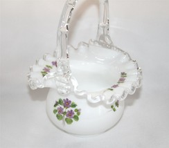 Fenton Silvercrest Hand Painted Violets in the Snow Basket, Unsigned    ... - $45.00