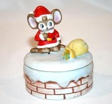 HOMCO Christmas Mouse Round Trinket Box  #962 - $15.00