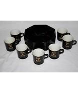 Set of 8 Vintage Hall Black Tom & Jerry Mugs with Arcoroc Octagon Bowl  ... - $60.00