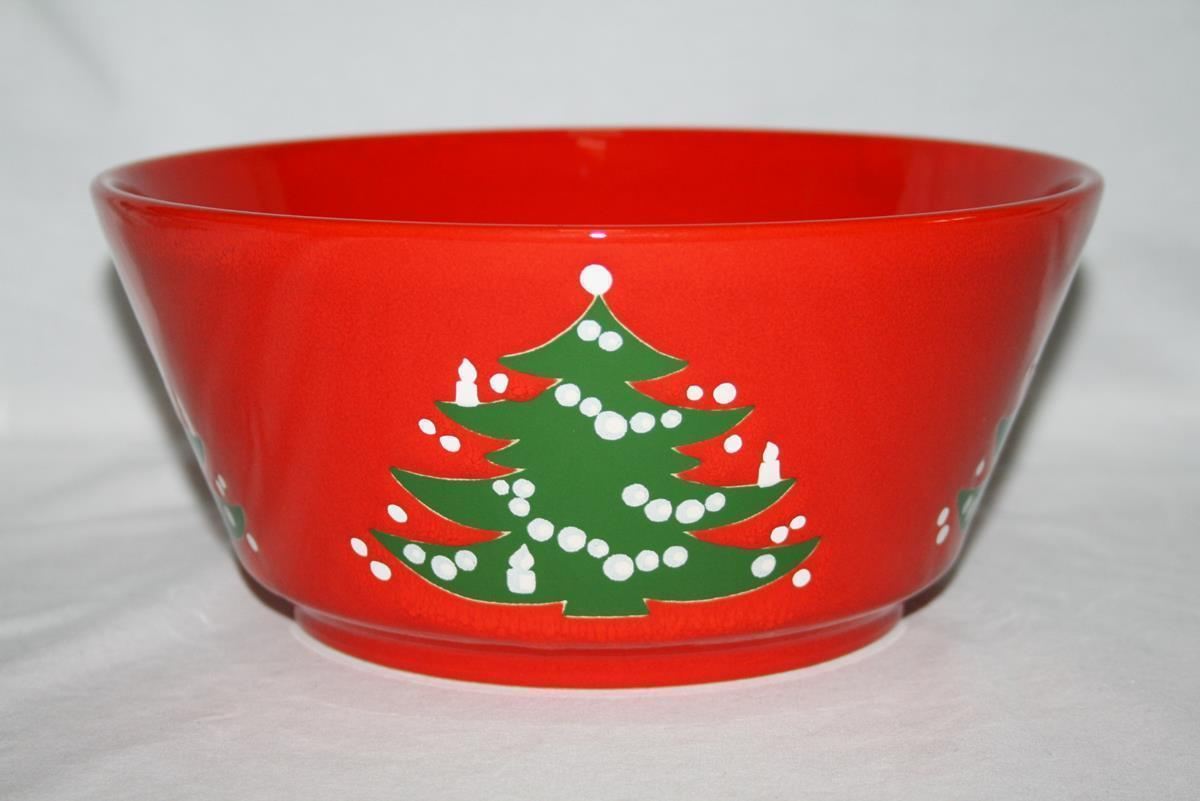 "Waechtersbach Germany Red Christmas Tree 9"" Round Vegetable Bowl #1903"