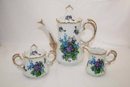 Vintage Lefton China Spring Bouquet Creamer, Sugar, Coffee Pot -Excellent- - $125.00