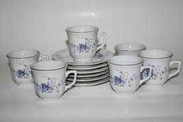 -Set of 6- Liling China Demitasse Cups & Saucers Purple Floral  #1955 - $60.00