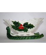 Vintage 1970-71 Lefton Numbered Japan White with Holly Sleigh   #986 - $20.00