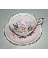 Paragon A702 Pastel Pink Tea Cup & Saucer Set with Peach Grey Flowers,Go... - $68.00