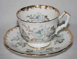 Aynsley England Bone China #C2525 White Grey Blue Floral Cup & Saucer Set - $34.00