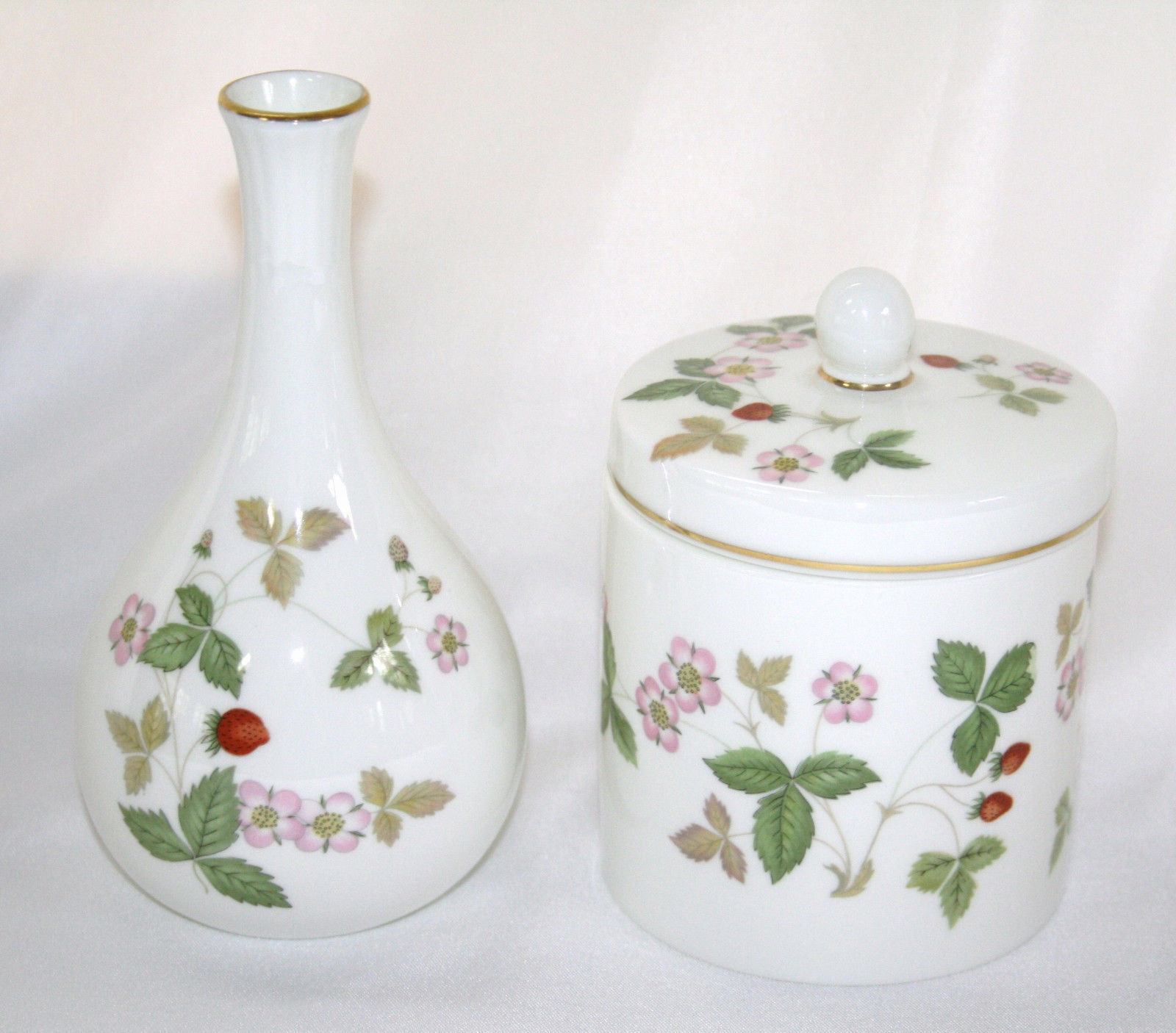 Wedgwood England Wild Strawberry Bone Chine Bud Vase & Candy Jar #1360