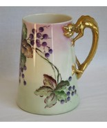 Vintage Lenox Belleek Pallet Hand Painted Grape Leaf Dragon Handle Mug - $120.00