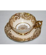 Paragon A909 Gold Scroll and Light Peach Tea Cup & Saucer Set - $50.00