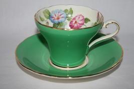Aynsley England Bone China #B5332 Green Morning Glory Corset Cup & Sauce... - $54.00