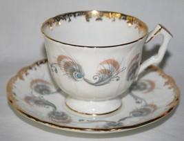 Aynsley Tibet Grey Beige Blue Peacock Feather Tea Cup & Saucer Set  - $15.00