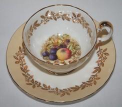 Aynsley England #2480 Off-White Vanilla Fruit Signed D Jones Cup & Sauce... - $40.00
