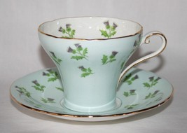 Aynsley England China #1341 Baby Blue Purple Thistle Corset Cup & Saucer... - $50.00