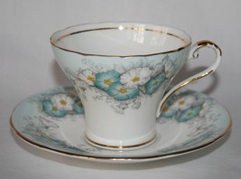 Aynsley England #C1441 Baby Blue & White Morning Glory Corset Cup & Sauc... - $40.00