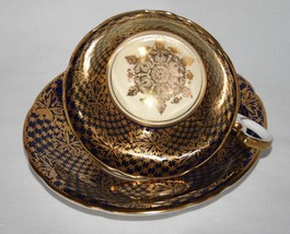 Aynsley England Bone China #949 Cobalt Gold Chintz Cup & Saucer Set - $60.00