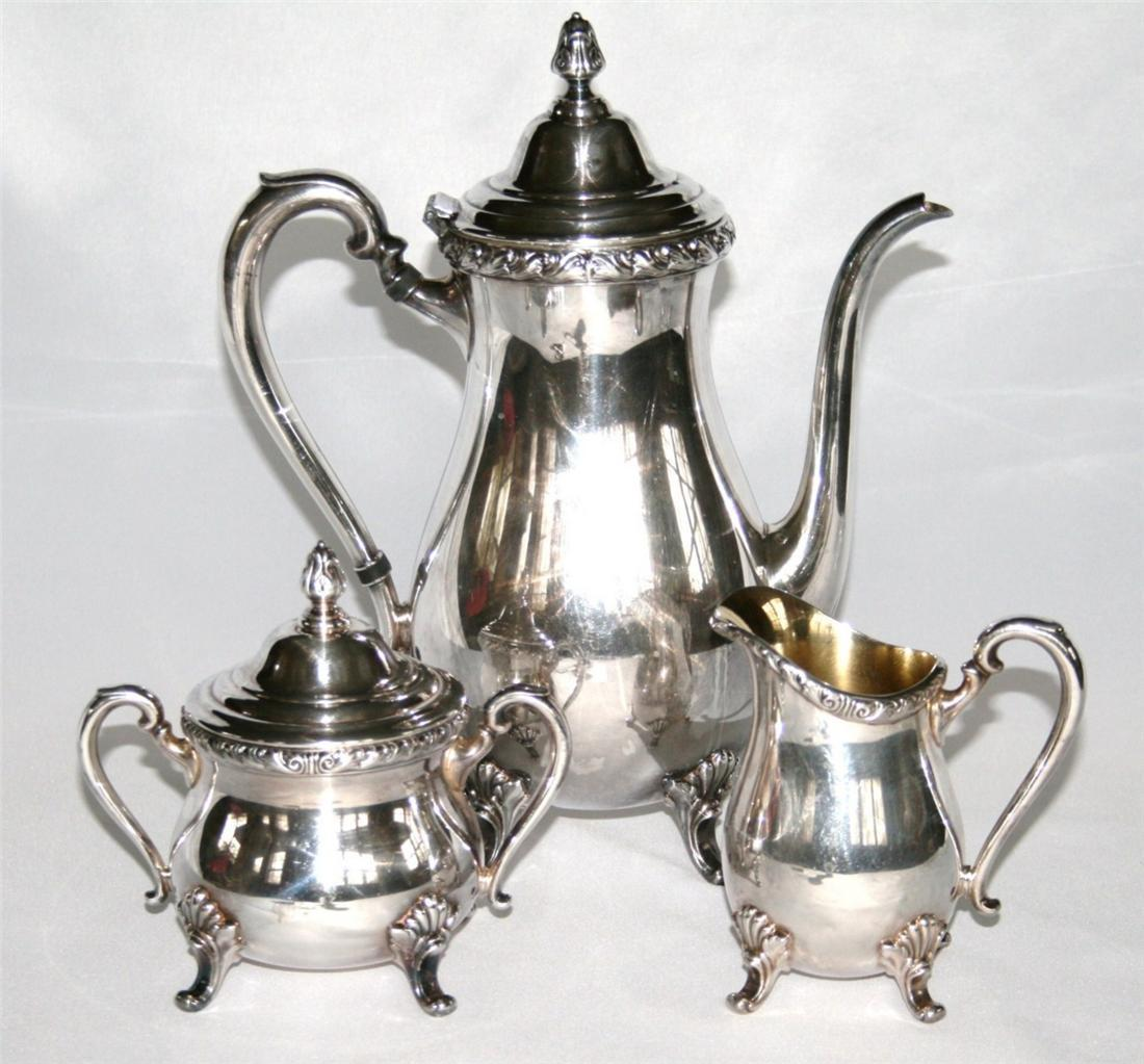 Vintage 1950 INTERNATIONAL WICKFORD Silverplate Coffee Creamer Sugar Set #1007