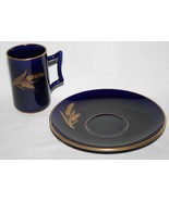 Lenox USA Green Mark 1940's Wheat Blue Cobalt Tall Demitasse Cup & Sauce... - $65.00