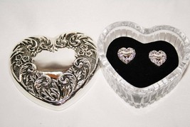 Avon Silver Plated Heart Treasures Gift Set Trinket Box & Earrings -NIB-  #1649 - $36.00