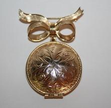 Vintage Avon Gold Toned Perfume Locket Bow Brooch  J204GS - $15.00