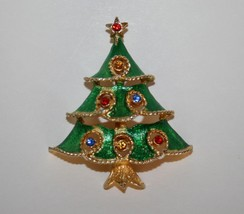 Vintage JJ Jonette Jewelry Gold Toned Rhinestone Christmas Tree Brooch  ... - $20.00