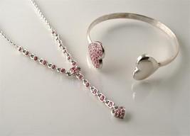 GIVENCHY Silvertone Pink Pave Crystal Heart Necklace & Bracelet J96 - $50.00