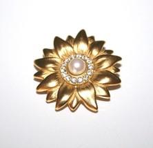 Swarovski Swan Mark Goldtone Flower Crystal Brooch With Faux Pearl Cente... - $22.00