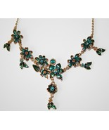 Gold Tone Enameled Leaf & Flower Turquoise Gold Crystal Necklace  NEW  J230 - $35.00